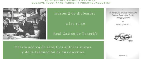 Presentación del libro de Rafael-José Díaz: «Al borde del abismo y más allá: Gustave Roud, Anne Perrier y Philippe Jaccottet»